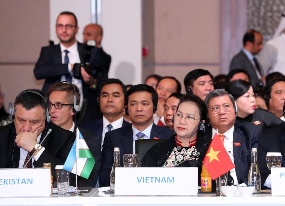 Chủ tịch Quốc hội Nguyễn Thị Kim Ngân cùng đoàn đại biểu cấp cao Quốc hội Việt Nam dự hội nghị MSEP3. Ảnh: TTXVN