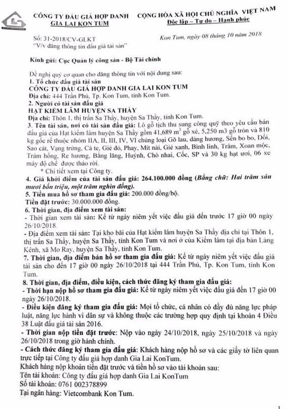 Ngày 29/10/2018, đấu giá gỗ xẻ, gỗ tròn tại Kon Tum - ảnh 1