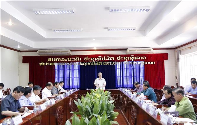 Thường trực Ban Bí thư Trần Quốc Vượng thăm và làm việc tại tỉnh Vientiane - ảnh 1