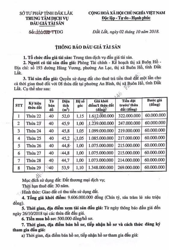 Ngày 29/10/2018, đấu giá quyền sử dụng đất tại thị xã Buôn Hồ, tỉnh Đắk Lắk - ảnh 1