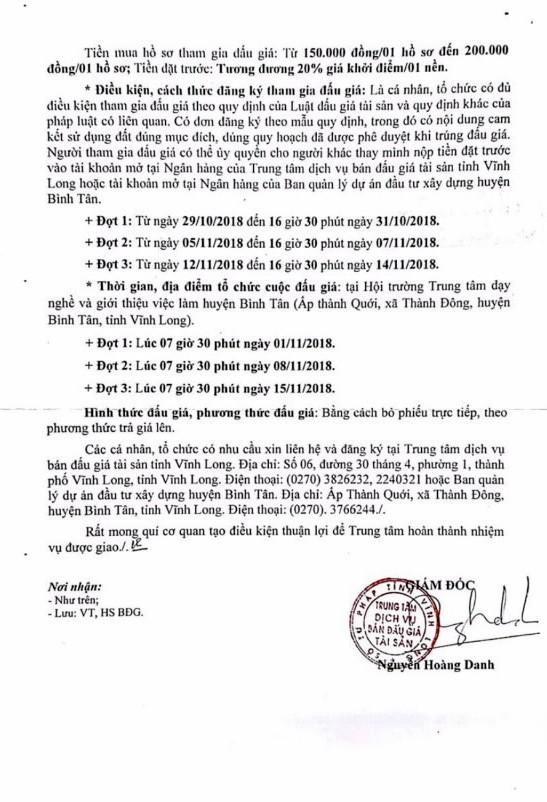 Ngày 8/11/2018, đấu giá quyền sử dụng đất tại huyện Bình Tân, tỉnh Vĩnh Long - ảnh 2