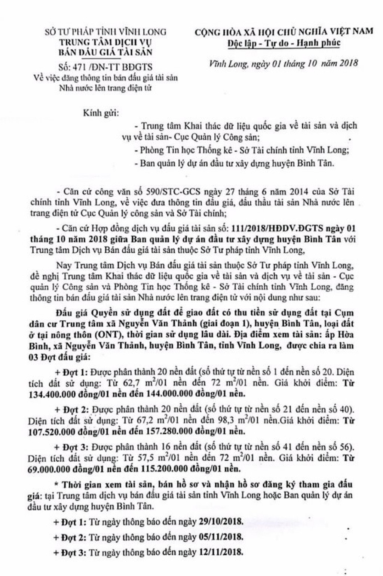 Ngày 15/11/2018, đấu giá quyền sử dụng đất tại huyện Bình Tân, tỉnh Vĩnh Long - ảnh 1