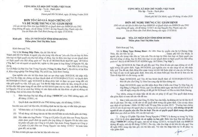 Bà Lê Hoàng Diệp Thảo tố cáo Trung Nguyên cung cấp tài liệu giả mạo - ảnh 1