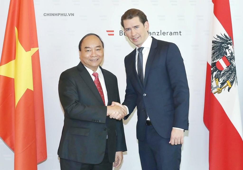 Thủ tướng Nguyễn Xuân Phúc và Thủ tướng Áo Sebastian Kurz - Ảnh: VGP