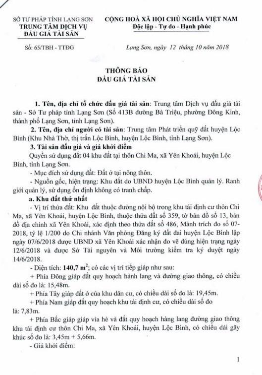 Ngày 2/11/2018, đấu giá quyền sử dụng đất tại huyện Lộc Bình, tỉnh Lạng Sơn - ảnh 1