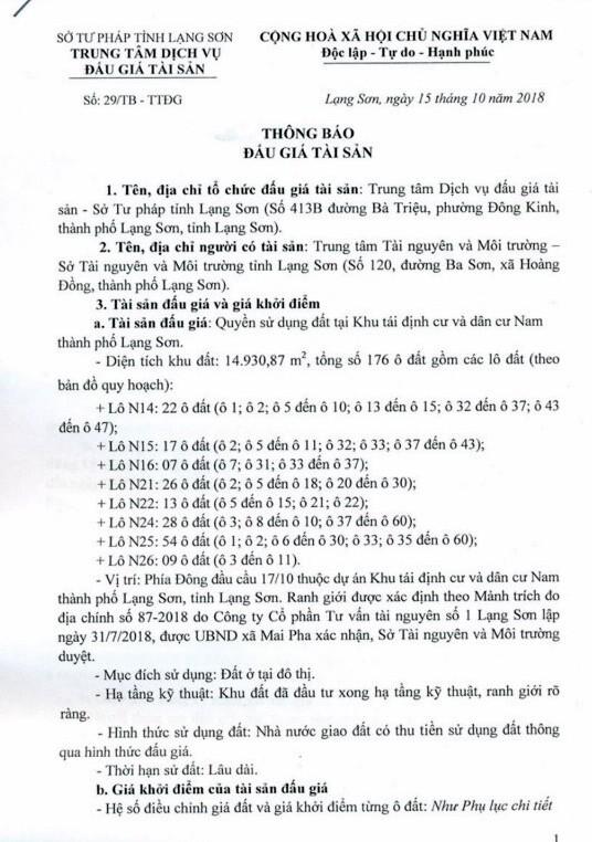Ngày 08/11/2018, đấu giá quyền sử dụng đất tại thành phố Lạng Sơn, tỉnh Lạng Sơn - ảnh 1