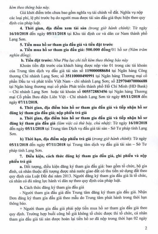 Ngày 08/11/2018, đấu giá quyền sử dụng đất tại thành phố Lạng Sơn, tỉnh Lạng Sơn - ảnh 2