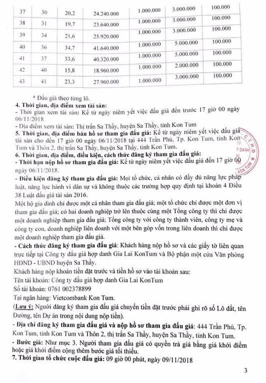 Ngày 09/11/2018, đấu giá quyền sử dụng đất tại huyện Sa Thầy, tỉnh Kon Tum - ảnh 3