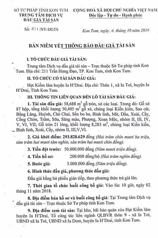 Ngày 02/11/2018, đấu giá 58,688 m3 gỗ tròn, xẻ các loại tại tỉnh Kon Tum - ảnh 1