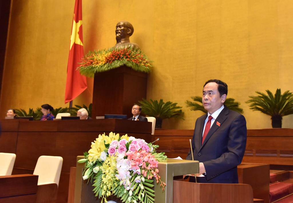 Chủ tịch Ủy ban Trung ương Mặt trận Tổ quốc Việt Nam Trần Thanh Mẫn trình bày Báo cáo trước Quốc hội - Ảnh: VGP