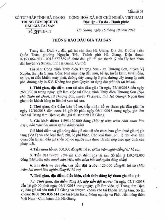 Ngày 9/11/2018, đấu giá Công trình Thủy điện Thượng Sơn tại Hà Giang - ảnh 1