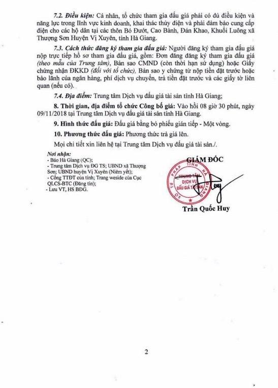 Ngày 9/11/2018, đấu giá Công trình Thủy điện Thượng Sơn tại Hà Giang - ảnh 2