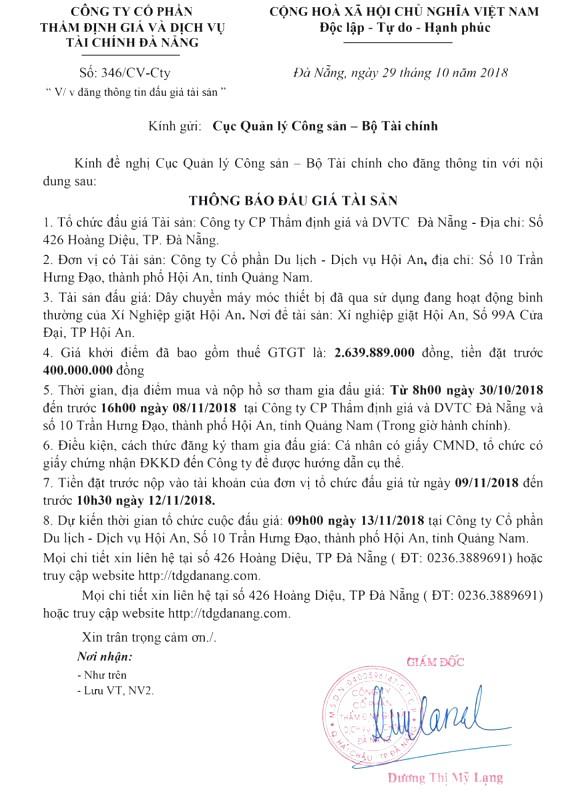 Ngày 13/11/2018, đấu giá dây chuyền máy móc đã qua sử dụng của xí nghiệp giặt Hội An (Quảng Nam) - ảnh 1