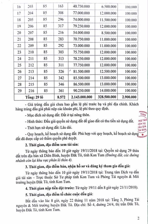 Ngày 22/11/2018, đấu giá quyền sử dụng đất tại huyện Đắk Tô, tỉnh Kon Tum - ảnh 2