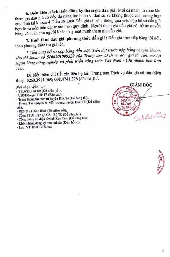 Ngày 22/11/2018, đấu giá quyền sử dụng đất tại huyện Đắk Tô, tỉnh Kon Tum - ảnh 3