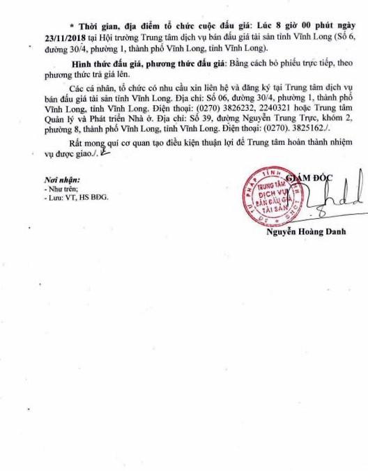 Ngày 23/11/2018, đấu giá quyền sử dụng đất và tài sản gắn liền với đất tại thành phố Vĩnh Long, tỉnh Vĩnh Long - ảnh 2