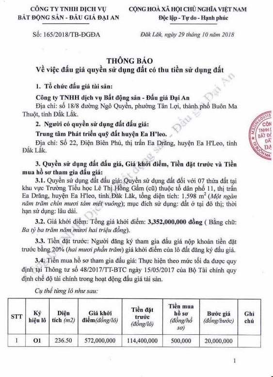 Ngày 22/11/2018, đấu giá quyền sử dụng đất tại huyện Ea H'Leo, tỉnh Đắk Lắk - ảnh 1