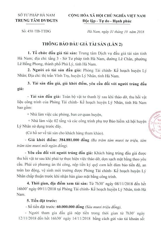 Ngày 15/11/2018, đấu giá vật tư thanh lý sau khi tháo dỡ công trình tại Hà Nam - ảnh 1