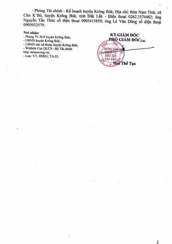 Ngày 23/11/2018, đấu giá quyền sử dụng đất tại huyện Krông Búk, tỉnh Đắk Lắk - ảnh 2
