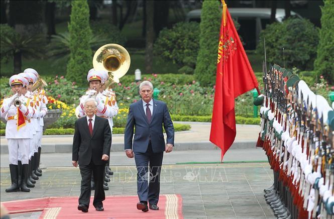 Lễ đón Chủ tịch Cuba Miguel Díaz-Canel thăm hữu nghị chính thức Việt Nam - ảnh 2