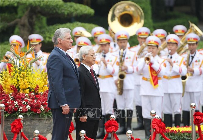 Lễ đón Chủ tịch Cuba Miguel Díaz-Canel thăm hữu nghị chính thức Việt Nam - ảnh 3