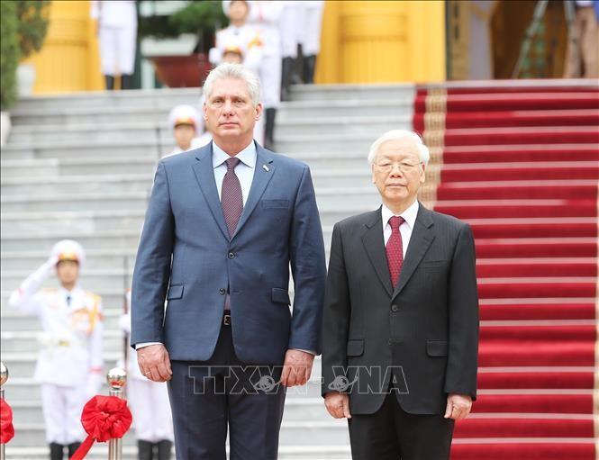 Lễ đón Chủ tịch Cuba Miguel Díaz-Canel thăm hữu nghị chính thức Việt Nam - ảnh 4