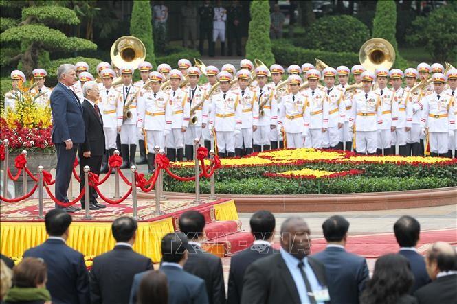 Lễ đón Chủ tịch Cuba Miguel Díaz-Canel thăm hữu nghị chính thức Việt Nam - ảnh 5