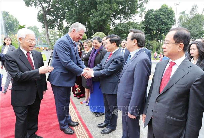 Lễ đón Chủ tịch Cuba Miguel Díaz-Canel thăm hữu nghị chính thức Việt Nam - ảnh 7