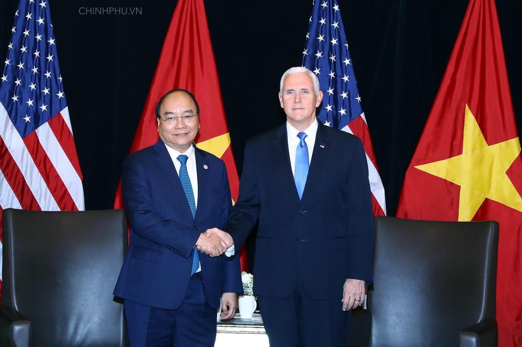 Thủ tướng Nguyễn Xuân Phúc và Phó Tổng thống Hoa Kỳ Mike Pence. Ảnh: VGP