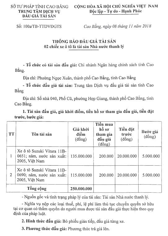 Ngày 22/11/2018, đấu giá xe ô tô tại tỉnh Cao Bằng - ảnh 1