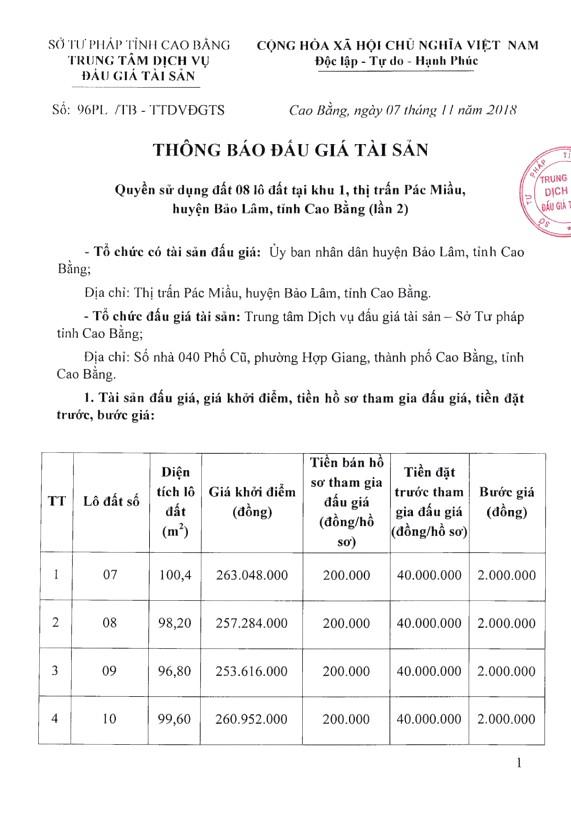 Ngày 28/11/2018, đấu giá quyền sử dụng đất tại huyện Bảo Lâm, tỉnh Cao Bằng - ảnh 1