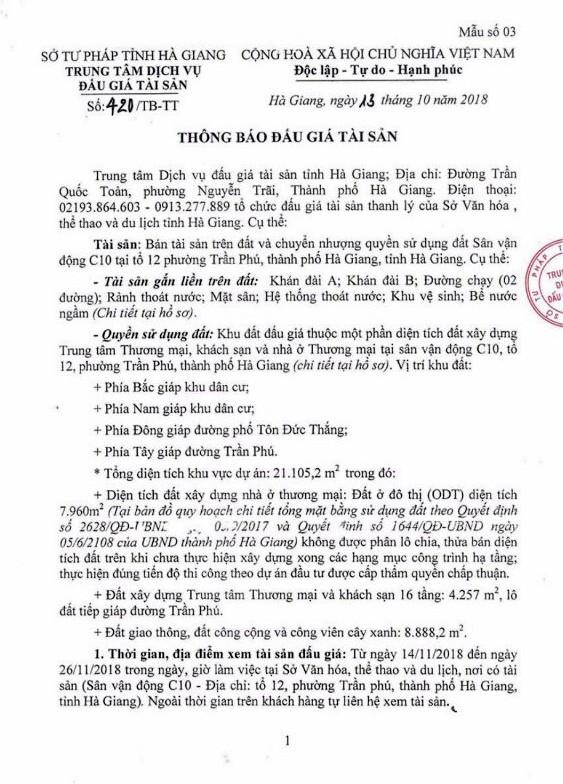 Ngày 04/12/2018, đấu giá quyền sử dụng đất và tài sản trên đất tại thành phố Hà Giang, tỉnh Hà Giang - ảnh 1