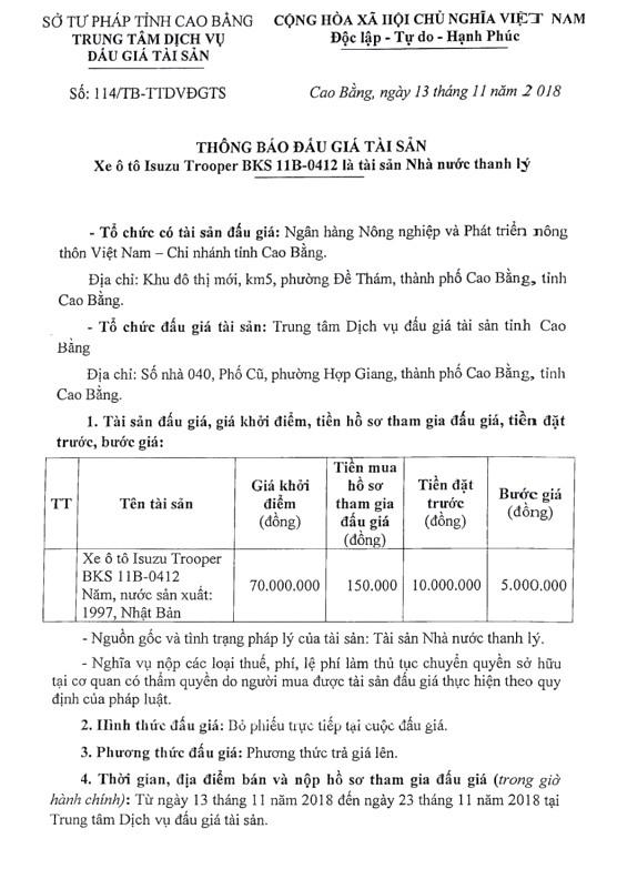 Ngày 28/11/2018, đấu giá xe ô tô Isuzu tại tỉnh Cao Bằng - ảnh 1
