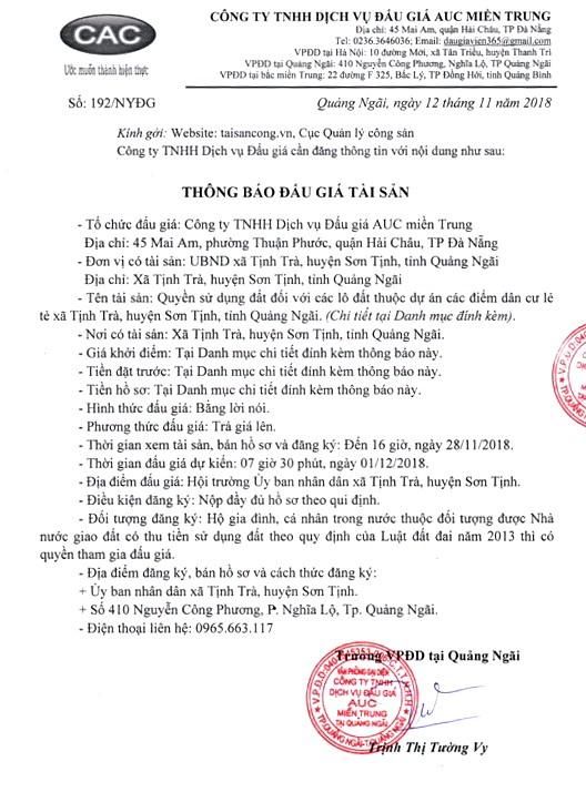 Ngày 01/12/2018, đấu giá quyền sử dụng đất tại huyện Sơn Tịnh, tỉnh Quảng Ngãi - ảnh 1