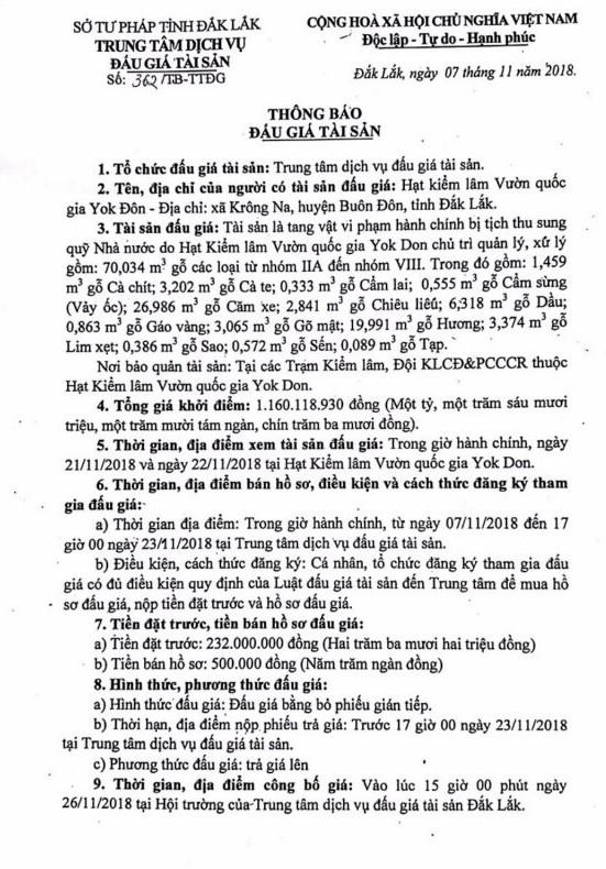Ngày 26/11/2018, đấu giá 70,034m3 gỗ các loại từ nhóm IIA đến nhóm VIII tại tỉnh Đắk Lắk - ảnh 1