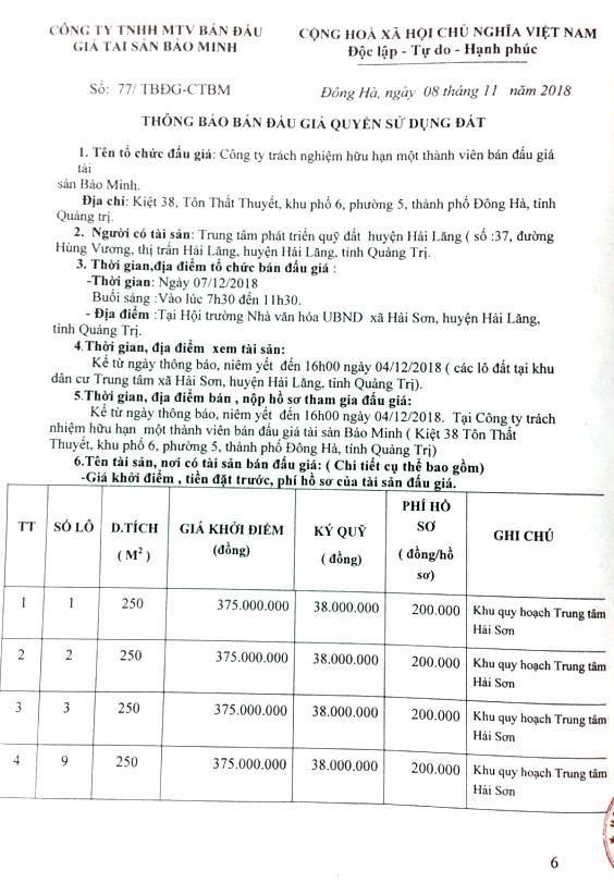 Ngày 07/12/2018, đấu giá quyền sử dụng đất tại huyện Hải Lăng, tỉnh Quảng Trị   - ảnh 1
