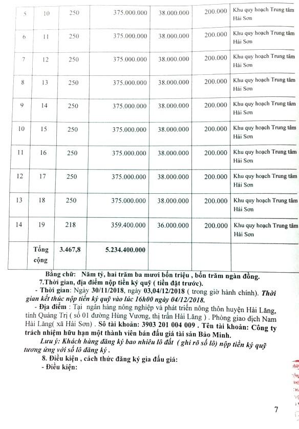 Ngày 07/12/2018, đấu giá quyền sử dụng đất tại huyện Hải Lăng, tỉnh Quảng Trị   - ảnh 2