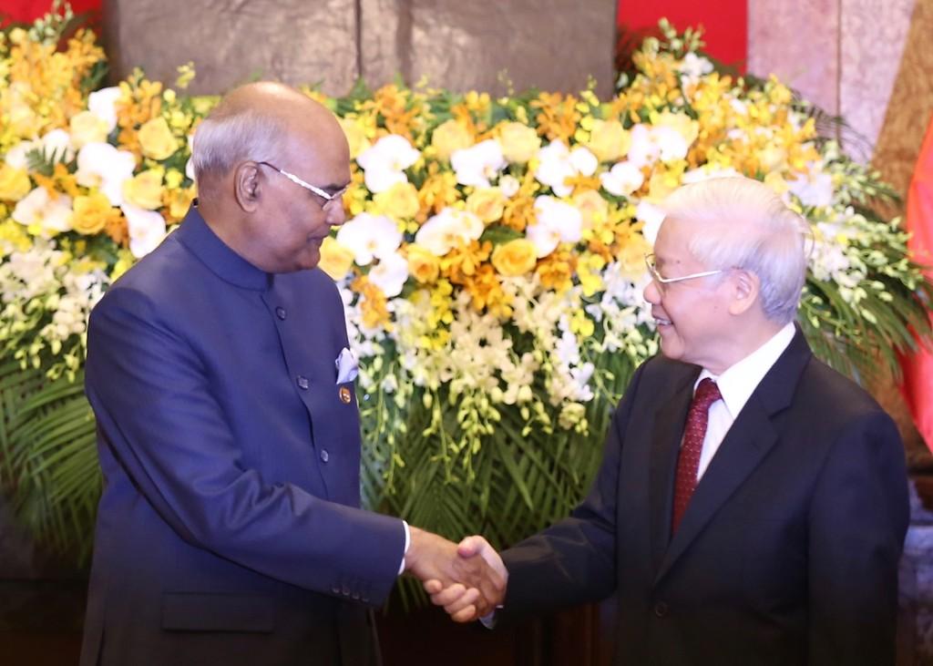 Tổng Bí thư, Chủ tịch nước Nguyễn Phú Trọng và Tổng thống Ấn Độ Ram Nath Kovind. Ảnh: VGP