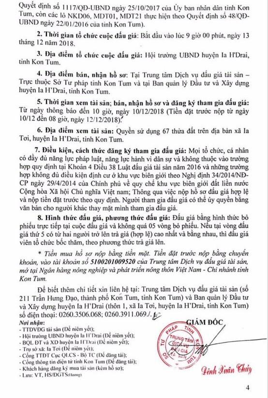 Ngày 13/12/2018, đấu giá quyền sử dụng 67 lô đất tại huyện Ia H'Drai, tỉnh Kon Tum  - ảnh 4