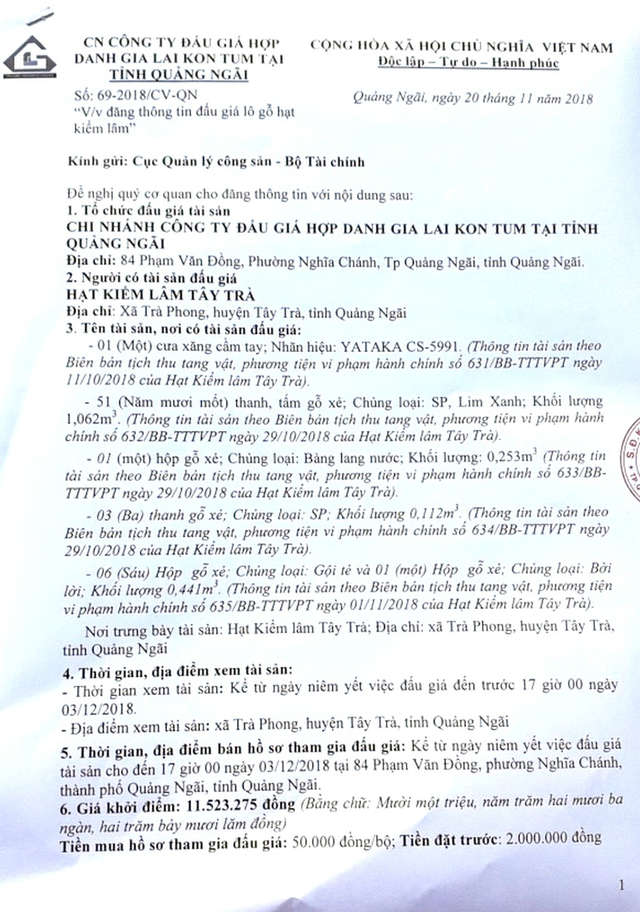 Ngày 6/12/2018, đấu giá gỗ xẻ và máy móc thiết bị tại tỉnh Quảng Ngãi   - ảnh 1