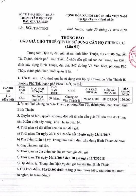 Ngày 14/12/2018, đấu giá cho thuê quyền sử căn hộ chung cư Văn Thánh B tại thành phố Phan Thiết, tỉnh Bình Thuận   - ảnh 1