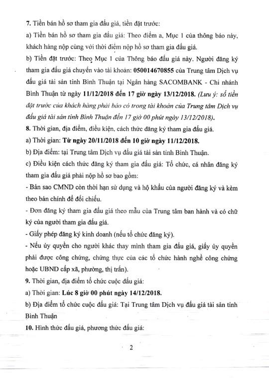 Ngày 14/12/2018, đấu giá cho thuê quyền sử căn hộ chung cư Văn Thánh B tại thành phố Phan Thiết, tỉnh Bình Thuận   - ảnh 2