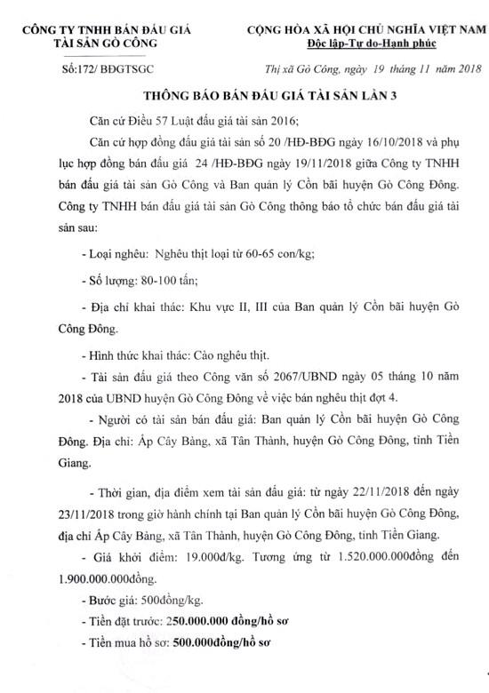 Ngày 6/12/2018, đấu giá Nghêu thịt tại tỉnh Tiền Giang   - ảnh 1
