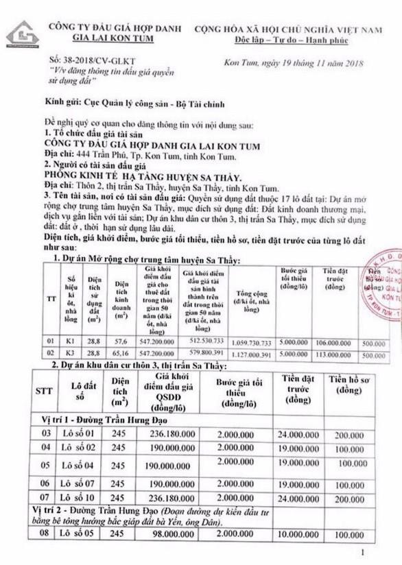 Ngày 14/12/2018, đấu giá quyền sử dụng 17 lô đất tại huyện Sa Thầy, tỉnh Kon Tum   - ảnh 1