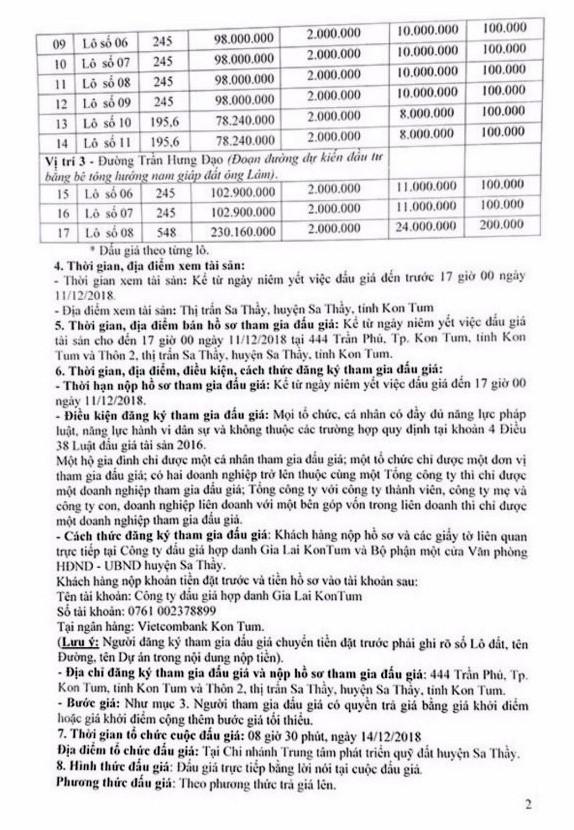 Ngày 14/12/2018, đấu giá quyền sử dụng 17 lô đất tại huyện Sa Thầy, tỉnh Kon Tum   - ảnh 2