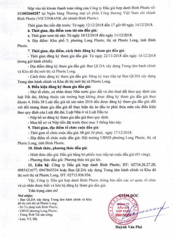 Ngày 17/12/2018, đấu giá quyền sử dụng đất tại thị xã Phước Long, tỉnh Bình Phước - ảnh 2