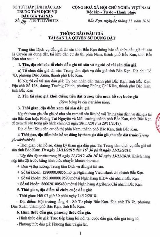Ngày 14/12/2018, đấu giá quyền sử dụng đất tại thành phố Bắc Kạn, tỉnh Bắc Kạn - ảnh 1