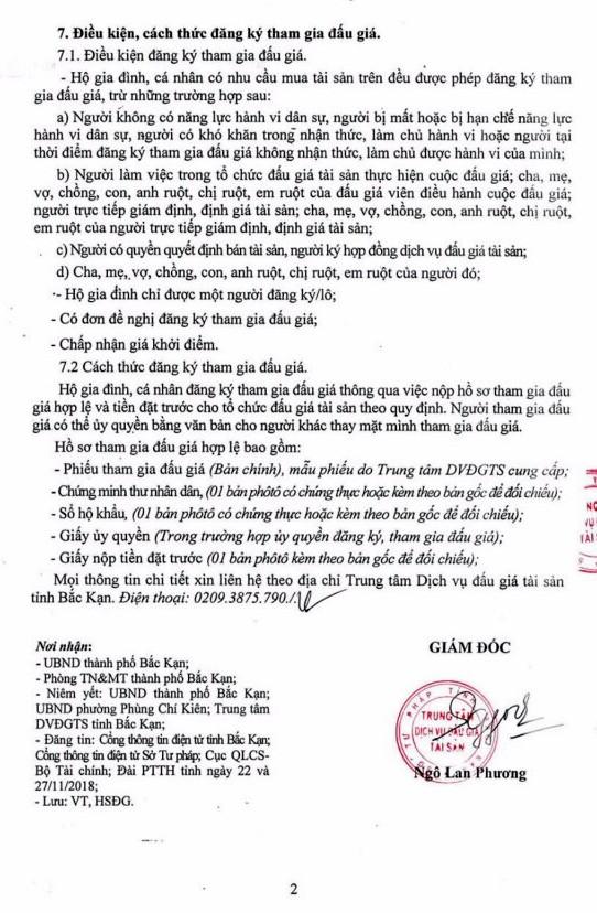 Ngày 14/12/2018, đấu giá quyền sử dụng đất tại thành phố Bắc Kạn, tỉnh Bắc Kạn - ảnh 2