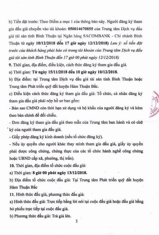 Ngày 13/12/2018, đấu giá quyền sử dụng 16 lô đất tại huyện Hàm Thuận Bắc, tỉnh Bình Thuận - ảnh 3