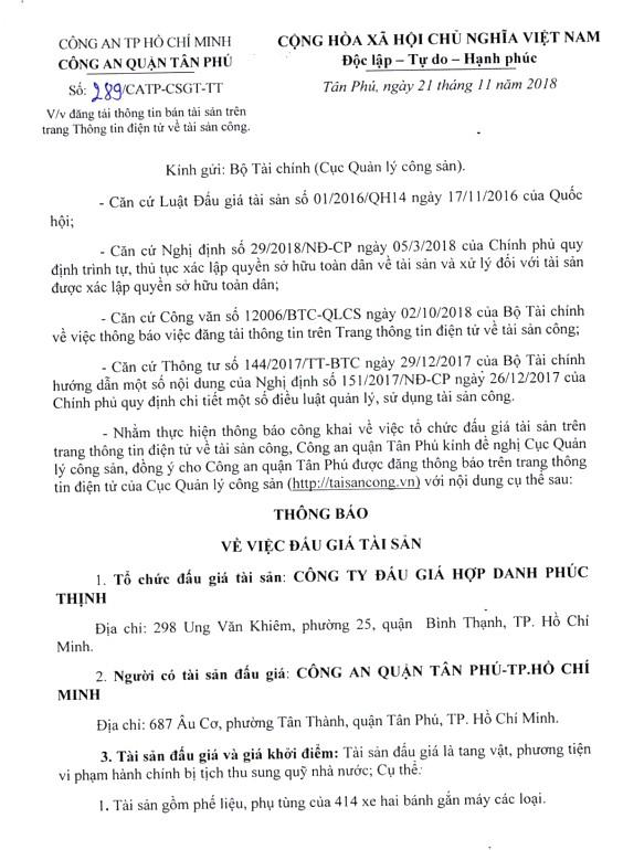 Ngày 11/12/2018, đấu giá tang vật vi phạm hành chính tịch thu tại Hà Nội - ảnh 1